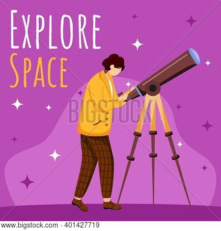 Explore Space Social Media Post Mockup. Boy With Telescope. Astronomy Practice. Advertising Web Bann
