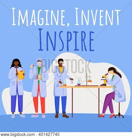 Imagine, Invent, Inspire Social Media Post Mockup. Experiments In Laboratory. Advertising Web Banner