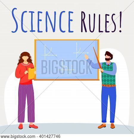 Science Rules Social Media Post Mockup. Math Lesson. Professor And Student. Advertising Web Banner D