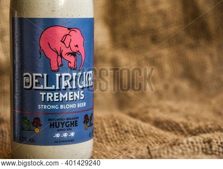Delirium Tremens Belgian Speciality Beer From Brewery Huyghe. Selective Focus.