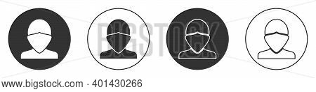 Black Vandal Icon Isolated On White Background. Circle Button. Vector