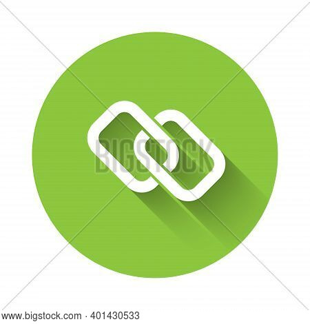 White Chain Link Icon Isolated With Long Shadow. Link Single. Hyperlink Chain Symbol. Green Circle B