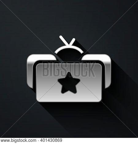 Silver Ushanka Icon Isolated On Black Background. Russian Fur Winter Hat Ushanka With Star. Soviet U