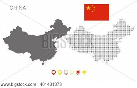 Map Of China Silhouette, China Map Dotted, Flag Of China , Vector Illustration Flat