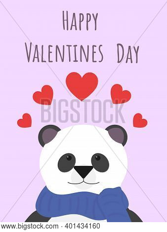 Portrait Of A Cute Panda. Valentine's Day Card. Cute Panda Wishes You Happy Valentine's Day. Red Hea