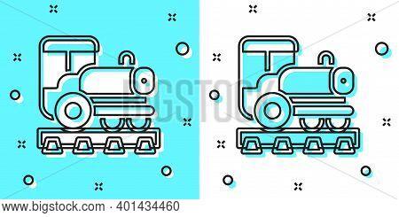 Black Line Vintage Locomotive Icon Isolated On Green And White Background. Steam Locomotive. Random
