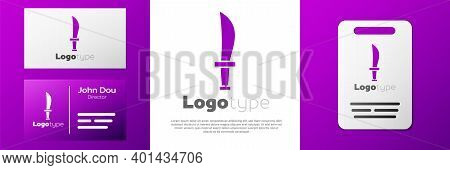 Logotype Pirate Sword Icon Isolated On White Background. Sabre Sign. Logo Design Template Element. V