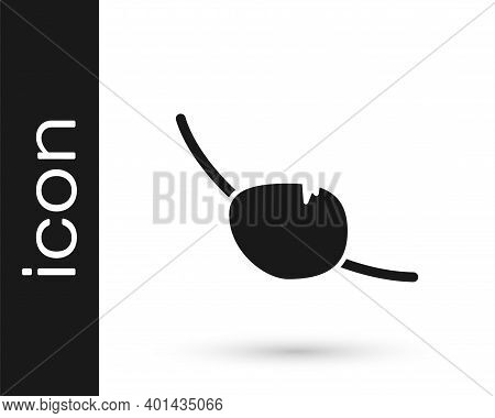 Black Pirate Eye Patch Icon Isolated On White Background. Pirate Accessory. Vector