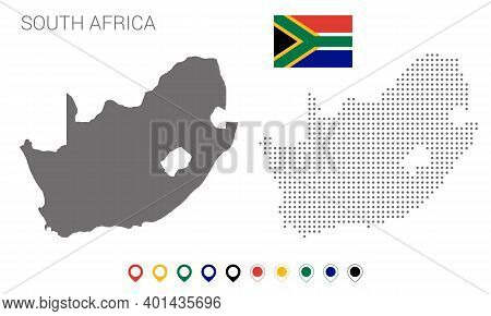 Map Of South Africa Silhouette, South Africa Map Dotted, Flag Of South Africa, Vector Illustration F