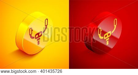 Isometric Aircraft Steering Helm Icon Isolated On Orange And Red Background. Aircraft Control Wheel.