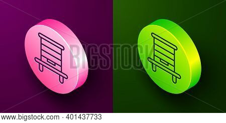 Isometric Line Hive For Bees Icon Isolated On Purple And Green Background. Beehive Symbol. Apiary An