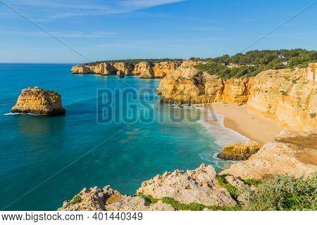 The famous beach of Praia da Marinha. This beach is a part of famous tourist region of Algarve.