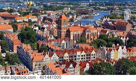 Top View On Gdansk, Poland. Top View Of Gdansk From The Tower Of St. Mary's Basilica.