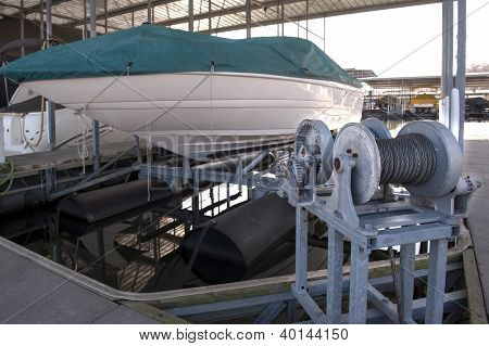 Docked Boat On A Lift