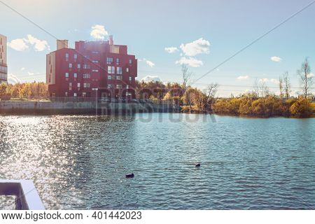 Bright Blue City Lake Modern Condo Building Exterior Background Sunny Day