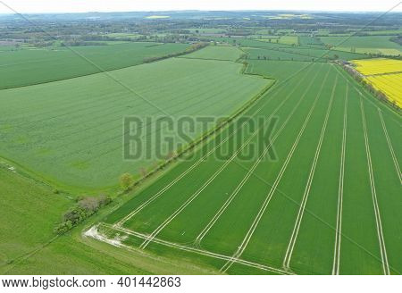 Aerial View Of Arable Fields Under Cultivation