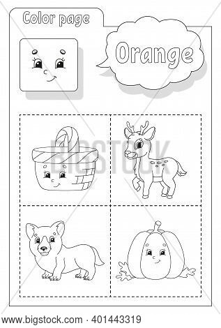 Coloring Book. Learning Colors. Color Pictures. Flashcard For Kids. Cartoon Characters. Picture Set