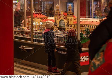 Prague, Czech Republic, 12-31-2020. Lego Exhibition At Prague Main Train Station (hlavni Nadrazi) Du