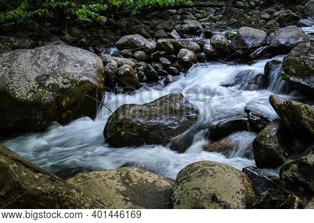 Smoky Mountain Stream. Roaring Fork River And Rushes Through The Great Smoky Mountains National Park