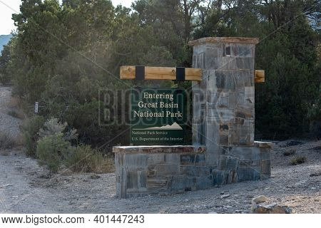 Great Basin National Park, United States: August 4, 2020: Entering Great Basin Sign Along Side Of Ro