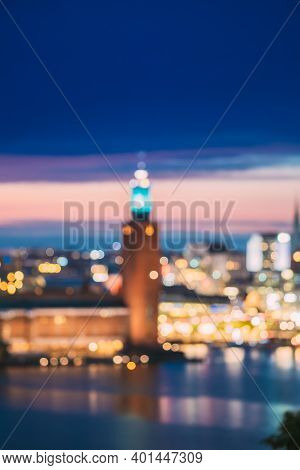 Stockholm, Sweden. Night Skyline Abstract Boke Bokeh Background. Design Backdrop. Tower Of Stockholm