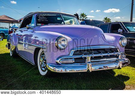 Daytona Beach, Fl - November 28, 2020: 1952 Chevrolet Belair Convertible At A Local Car Show.