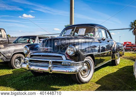 Daytona Beach, Fl - November 28, 2020: 1951 Chevrolet Deluxe At A Local Car Show.