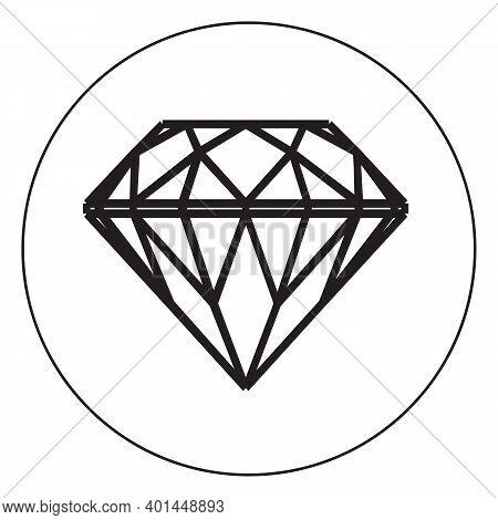 Black Diamond Icon Isolated On White Background. Shiny Brilliant Crystal For Jewels Logo. Flat Desig