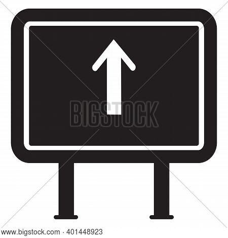 Forward Arrow Sign Solid Icon, Traffic Concept, Road Sign With Forward Direction On White Background