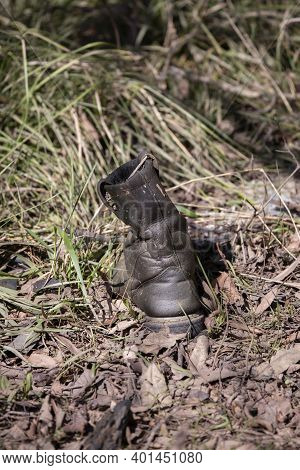 Single Black Boot On Dried Leaves, Littering The Outdoors