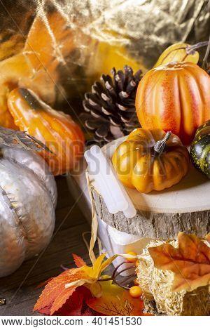 Small Orange Pumpkins, Orange Squash, Pinecones, A Green Squash, And Glue Sticks For Crafting On Woo