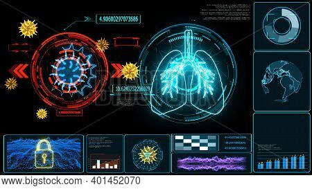 Futuristic Technology  Research Digital Processing Data Information Graph Of Covid 19 Virus Come Bac