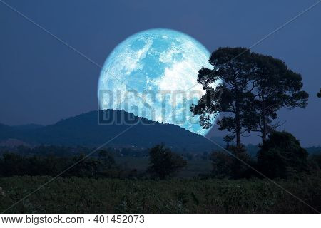 Super Harvest Blue Moon Silhouette Mountain And  The Field On Night Sky