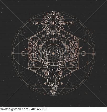 Vector Illustration With Hand Drawn Stag Skull And Sacred Geometric Symbol On Black Vintage Backgrou