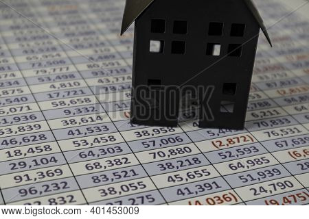 House On Spreadsheet - Mortgage Finance Concept For Loans
