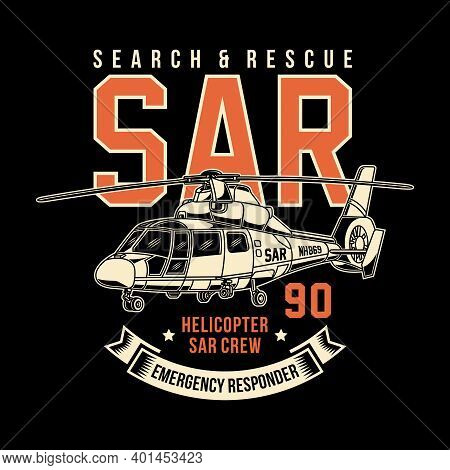 Search And Rescue Helicopter Vector Graphic, Rescue Helicopter Graphic T-shirt