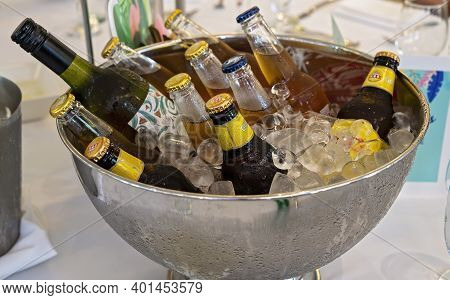 Townsville, Queensland, Australia - December 2020: Bottles Of Beer And Wine In An Ice Bucket Ready F