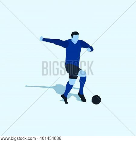 Dribble With Pace In Soccer - Two Tone Flat Illustration - Shot, Dribble, Celebration And Move In So