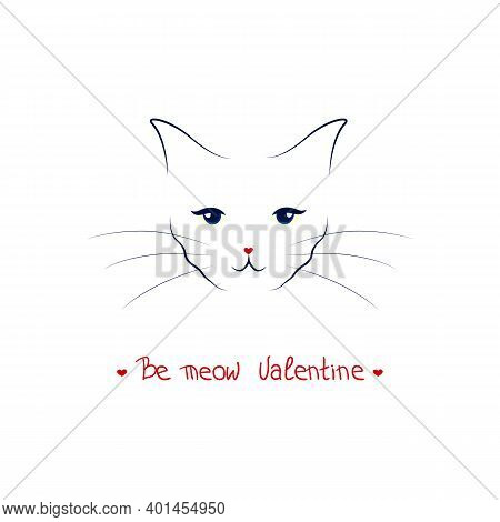 Cat Vector Design.t-shirt Graphic.black Rad And White Blue Line.meow Slogan Lattering