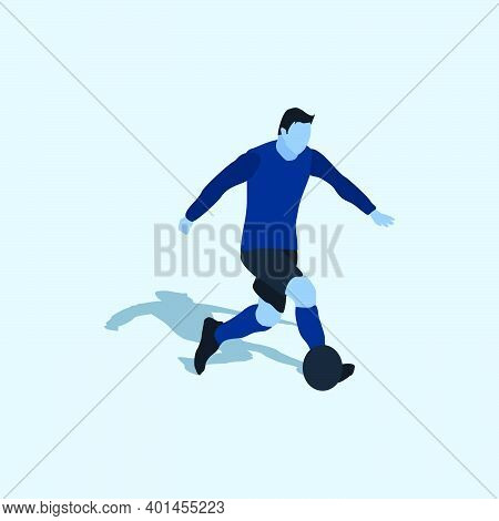 Right Footed Casual Dribbling - Two Tone Illustration - Shot, Dribble, Celebration And Move In Socce