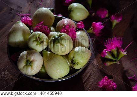 Beautiful Light And Shade Photography Malay Apples And Pink Malay Apple Flowers On Wooden Table, Fru