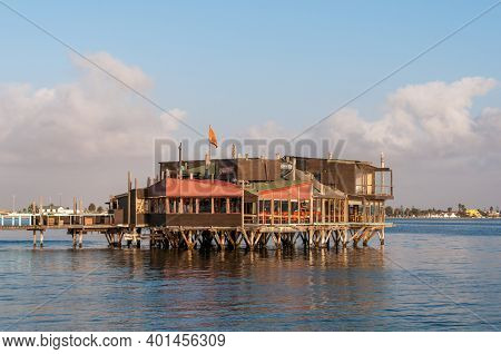 Walvis Bay, Namibia - June 19, 2012: The Raft, A Restaurant On Stilts In The Lagoon In Walvis Bay