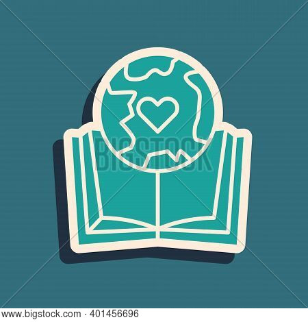 Green Earth Globe And Book Icon Isolated On Green Background. World Or Earth Sign. Global Internet S