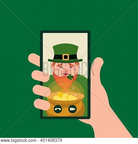 Online Congratulations With Patricks Day. Hand Holding Smartphone Video Player Window With Leprechau