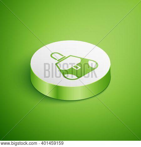 Isometric Handbag Icon Isolated On Green Background. Female Handbag Sign. Glamour Casual Baggage Sym