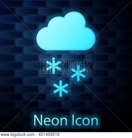 Glowing Neon Cloud With Snow Icon Isolated On Brick Wall Background. Cloud With Snowflakes. Single W