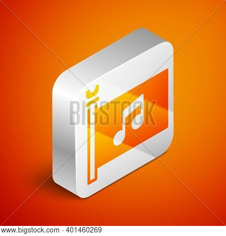 Isometric Music Festival, Access, Flag, Music Note Icon Isolated On Orange Background. Silver Square