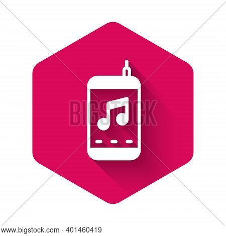 White Music Player Icon Isolated With Long Shadow. Portable Music Device. Pink Hexagon Button. Vecto