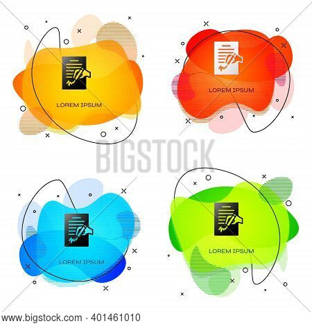 Black Petition Icon Isolated On White Background. Abstract Banner With Liquid Shapes. Vector