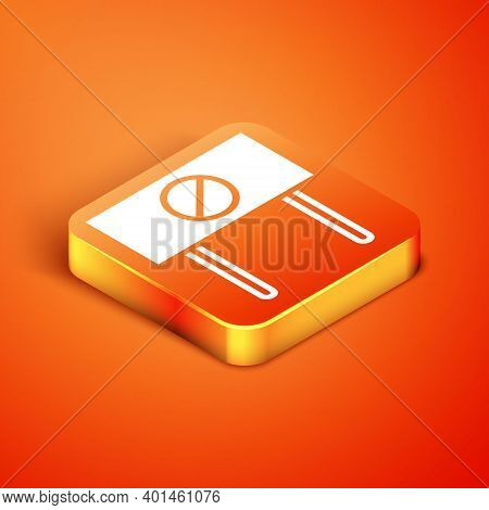 Isometric Protest Icon Isolated On Orange Background. Meeting, Protester, Picket, Speech, Banner, Pr